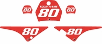 Yamaha PW80 Custom Pre-Printed Red Background - White Numbers by Factory Ride