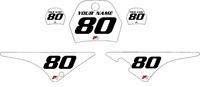 Yamaha PW80 Custom Pre-Printed White Background - Black Numbers by Factory Ride