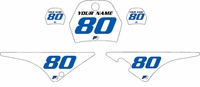 Yamaha PW80 Custom Pre-Printed White Background - Blue Numbers by Factory Ride