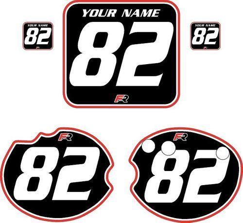 1982 Honda CR250 DC PLASTICS Black Pre-Printed Backgrounds - Red Pro Pinstripe by FactoryRide