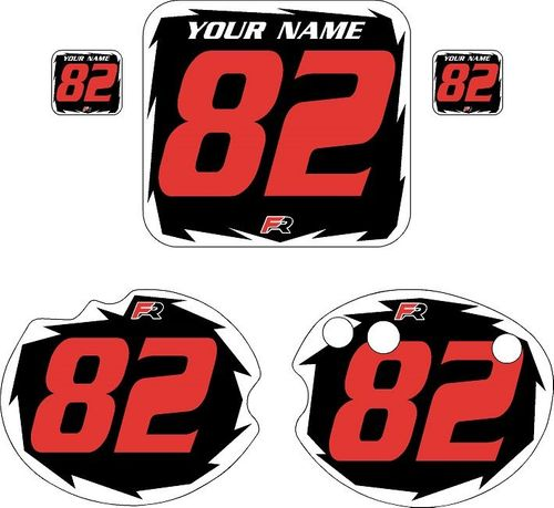 1982 Honda CR250 DC PLASTICS Black Pre-Printed Backgrounds - White Shock - Red Number by FactoryRide