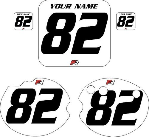 1982 Honda CR250 DC PLASTICS White Pre-Printed Backgrounds - Black Numbers by FactoryRide