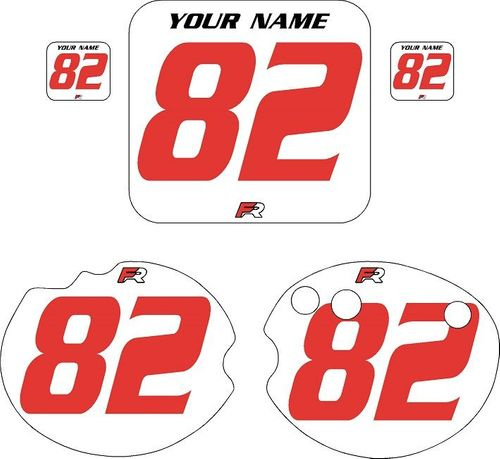 1982 Honda CR250 DC PLASTICS White Pre-Printed Backgrounds - Red Numbers by Factory Ride