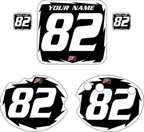 1982 Honda CR250 DC PLASTICS Black Pre-Printed Backgrounds - White Shock by FactoryRide