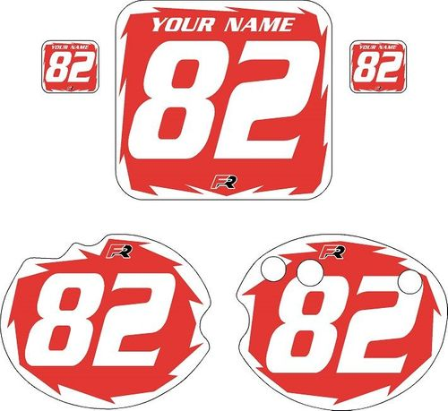 1982 Honda CR250 DC PLASTICS Red Pre-Printed Backgrounds - White Shock by FactoryRide