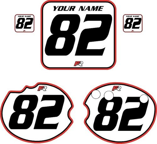 1982 Honda CR250 DC PLASTICS White Pre-Printed Backgrounds - Red Pro Pinstripe by FactoryRide