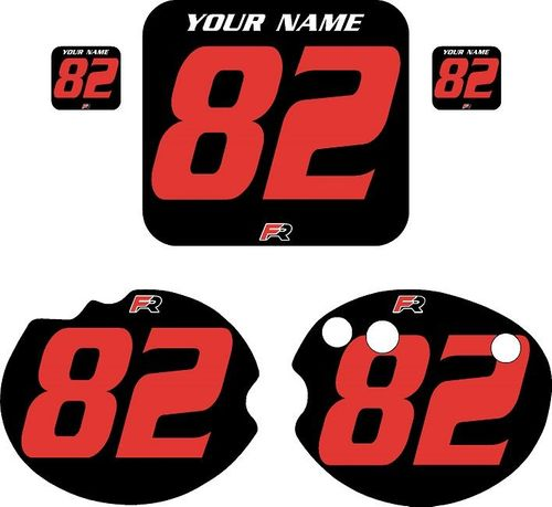 1982 Honda CR480 DC PLASTICS Black Pre-Printed Backgrounds - Red Numbers by FactoryRide