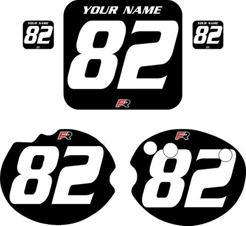 1982 Honda CR480 DC PLASTICS Black Pre-Printed Backgrounds - White Numbers by FactoryRide
