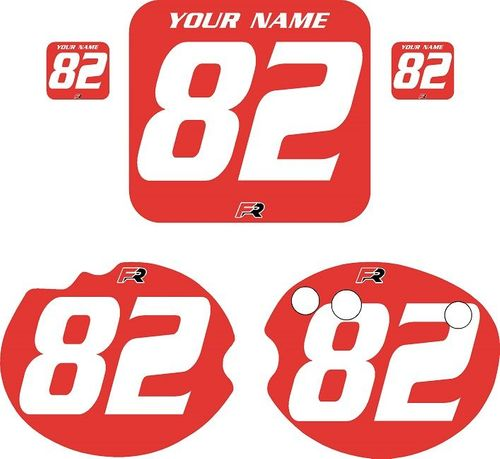 1982 Honda CR480 DC PLASTICS Red Pre-Printed Backgrounds - White Numbers by FactoryRide