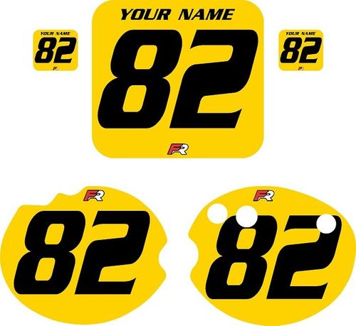 1982 Honda CR480 DC PLASTICS Yellow Pre-Printed Backgrounds - Black Numbers by FactoryRide