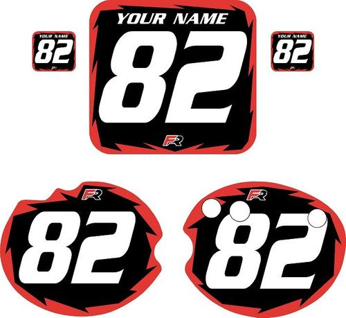 1982 Honda CR480 DC PLASTICS Black Pre-Printed Backgrounds - Red Shock by FactoryRide
