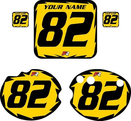 1982 Honda CR480 DC PLASTICS Yellow Pre-Printed Backgrounds - Black Shock by FactoryRide