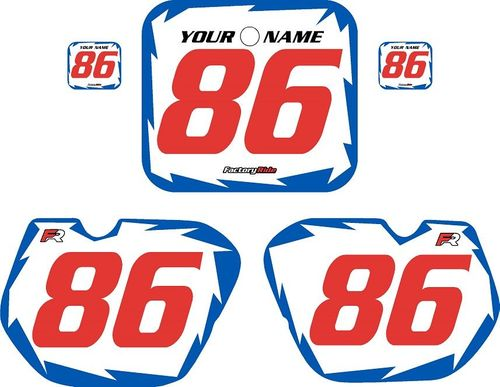 1985-1986 Honda CR125 Pre-Printed Backgrounds White - Blue Shock - Red Numbers by FactoryRide