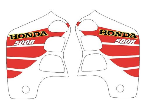 1989-2001 Honda CR500 Shroud Decals White with Red Big Wing