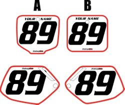1991-2001 Honda CR500 Pre-P200rinted Backgrounds White - Red Bold Pinstripe by FactoryRide