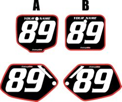 1991-2001 Honda CR500 Pre-Printed Backgrounds Black - Red Bold Pinstripe by FactoryRide