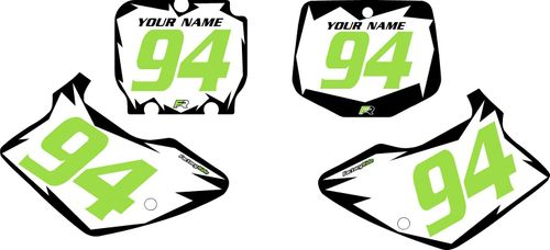 1994-1998 Kawasaki KX125 Pre-Printed White Background - Black Shock Series - Green Number by Factory Ride