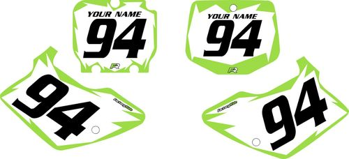 1994-1998 Kawasaki KX250 Pre-Printed Backgrounds White - Green Shock Series by FactoryRide