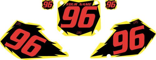 1996-1998 Suzuki RM250 Black Pre-Printed Backgrounds - Yellow Shock - Red Number by FactoryRide