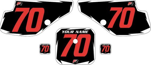 1997-2000 Honda XR70 Black Pre-Printed Backgrounds - White Shock - Red Number by FactoryRide