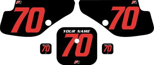 1997-2000 Honda XR70 Black Pre-Printed Backgrounds - Red Numbers by FactoryRide