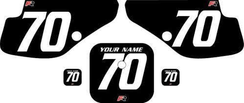 1997-2000 Honda XR70 Black Pre-Printed Backgrounds - White Numbers by FactoryRide