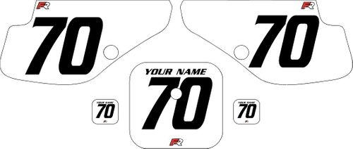 1997-2000 Honda XR70 White Pre-Printed Backgrounds - Black Numbers by FactoryRide