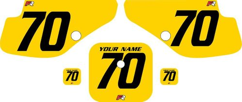 1997-2000 Honda XR70 Yellow Pre-Printed Backgrounds - Black Numbers by FactoryRide