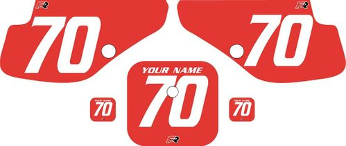 1997-2000 Honda XR70 Red Pre-Printed Backgrounds - White Numbers by FactoryRide