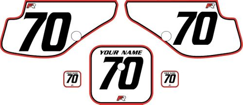1997-2000 Honda XR70 White Pre-Printed Backgrounds - Red Pro Pinstripe by FactoryRide