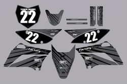 2010-2021 Kawasaki-KLX110-L Full Graphics Kit - Black with Grey Lines by Factory Ride