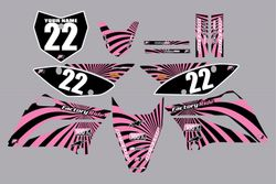 2010-2021 Kawasaki-KLX110-L Full Graphics Kit - Black with Pink Swirl by Factory Ride
