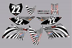2010-2021 Kawasaki-KLX110-L Full Graphics Kit - Black with White Swirl by Factory Ride