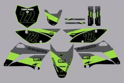 2010-2021 Kawasaki-KLX110-L Full Graphics Kit - Green-Grey Stripe by Factory Ride