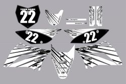 2010-2021 Kawasaki-KLX110-L Full Graphics Kit - White with Grey Lines by Factory Ride