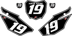 2019-2021 Honda CRF110 Black Pre-Printed Backgrounds - White Pinstripe by FactoryRide
