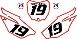 2019-2021 Honda CRF110 White Pre-Printed Backgrounds - Red Bold Pinstripe by FactoryRide