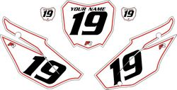 2019-2021 Honda CRF110 White Pre-Printed Backgrounds - Red Pinstripe by FactoryRide