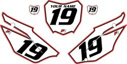 2019-2021 Honda CRF110 White Pre-Printed Backgrounds - Red Pro Pinstripe by FactoryRide