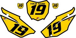 2019-2021 Honda CRF110 Yellow Pre-Printed Backgrounds - Black Bold Pinstripe by FactoryRide