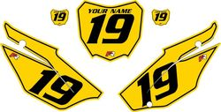2019-2021 Honda CRF110 Yellow Pre-Printed Backgrounds - Black Pinstripe by FactoryRide