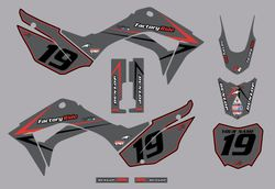 2019-2021 Honda CRF110 Arrow Series Graphics Kit by Factory Ride (Gray)