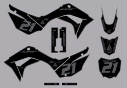 2019-2021 Honda CRF110 Bold Series Graphics Kit by Factory Ride (Black/Gray)