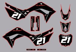 2019-2021 Honda CRF110 Bold Series Graphics Kit by Factory Ride (Black/Red