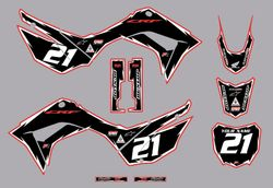 2019-2021 Honda CRF110 Shock Series Graphics Kit by Factory Ride (Black/Red)