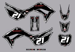 2019-2021 Honda CRF110 Shock Series Graphics Kit by Factory Ride (Black)