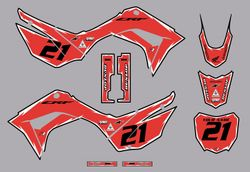 2019-2021 Honda CRF110 Shock Series Graphics Kit by Factory Ride (Red/Black)