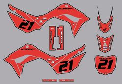 2019-2021 Honda CRF110 Bold Series Graphics Kit by Factory Ride (Red-Black)