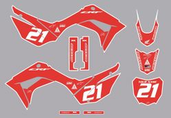 2019-2021 Honda CRF110 Bold Series Graphics Kit by Factory Ride (Red)