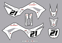 2019-2021 Honda CRF110 Bold Series Graphics Kit by Factory Ride (White)